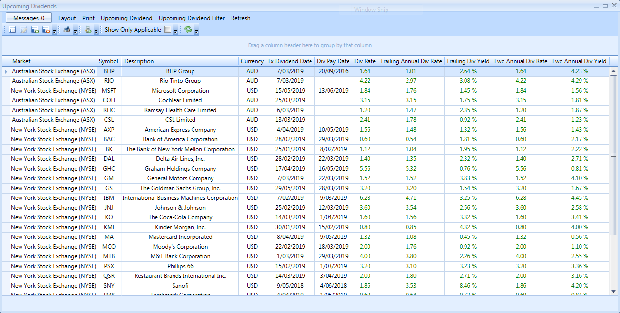 Upcoming Dividends View