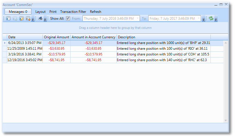 Account Transactions View