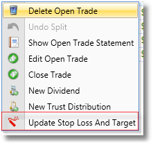 Update Stop Loss And Target Row Menu Item Highlighted