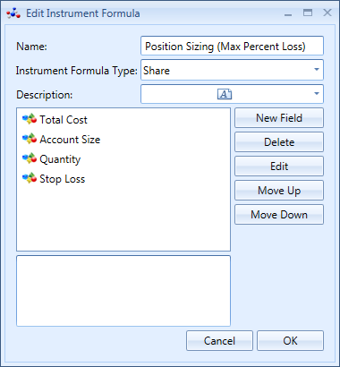 Edit Instrument Formula Window