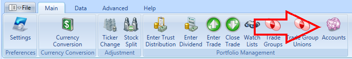 Accounts Toolbar Item In Main Window | Stock Portfolio Organizer