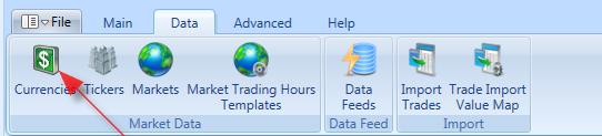 Currencies Toolbar Item In Main Window | Stock Portfolio Organizer