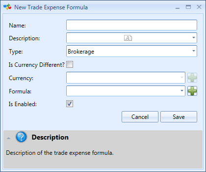 New Trade Expense Formula Window | Stock Portfolio Organizer