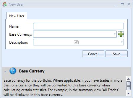 New User Window | Stock Portfolio Organizer