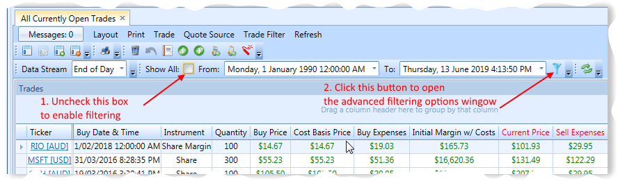 All Open Trades View With Trade Filtering Annotations | Stock Portfolio Organizer