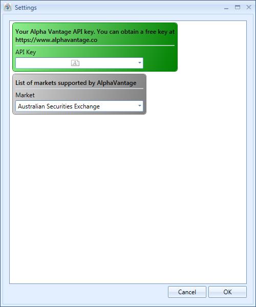 Alpha Vantage Data Feed Plugin Settings | Stock Portfolio Organizer