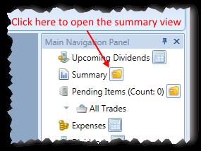 How To Open Summary View In Main Navigation Panel | Stock Portfolio Organizer