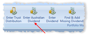 Main Menu Dividends Toolbar Item Highlighted | Stock Portfolio Organizer