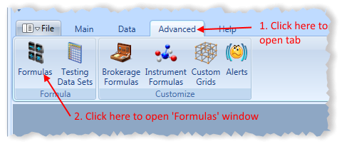 Main Menu Formulas Toolbar Item Highlighted | Stock Portfolio Organizer