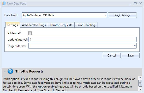New Alpha Vantage Data Feed Window | Stock Portfolio Organizer