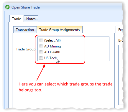 New Open Share Trade Window Possible Trade Group Assignments Highlighted | Stock Portfolio Organizer