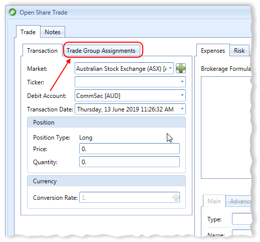 New Open Share Trade Window Trade Group Assignments Tab Highlighted | Stock Portfolio Organizer