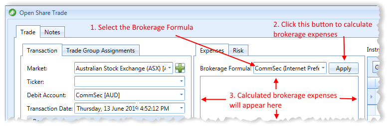 New Open Share Trade Window With Brokerage Formulas Explained | Stock Portfolio Organizer