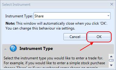 Select Instrument Window | Stock Portfolio Organizer