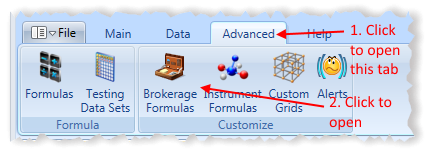 Main Menu Advanced Tab With Brokerage Formulas Highlighted | Stock Portfolio Organizer