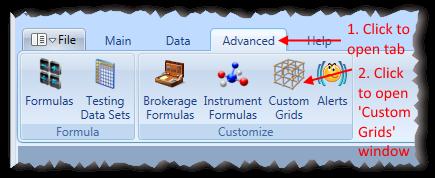 Main Menu Advanced Tab With Custom Grids Highlighted | Stock Portfolio Organizer
