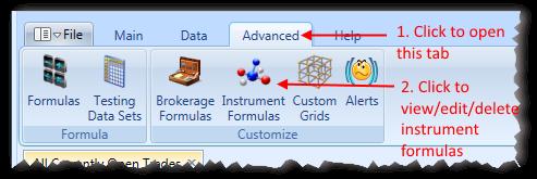 Main Menu Advanced Tab With Instrument Formulas Highlighted | Stock Portfolio Organizer