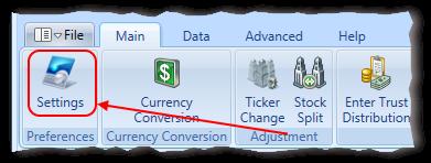 Main Menu Application Settings Toolbar Item Highlighted | Stock Portfolio Organizer