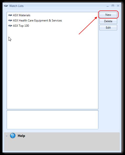Watchlists Window With New Button Highlighted | Stock Portfolio Organizer