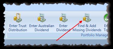 Main Menu Find-and Add Missing Dividends Toolbar Item Highlighted | Stock Portfolio Organizer